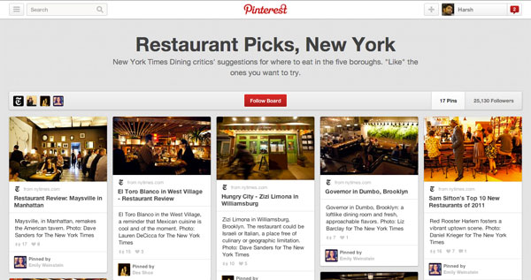 nytimes on pinterest