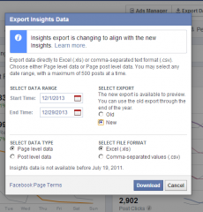 How to download Facebook Insights in Excel